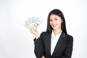 freelancer holding money